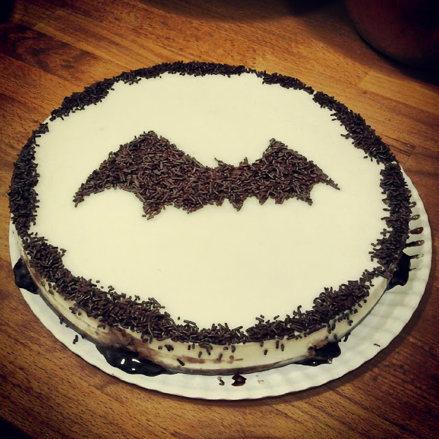 Tarta de chocolate blanco y queso por Halloween