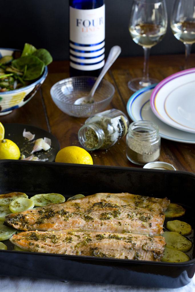 Trucha al horno con limón y orégano 4